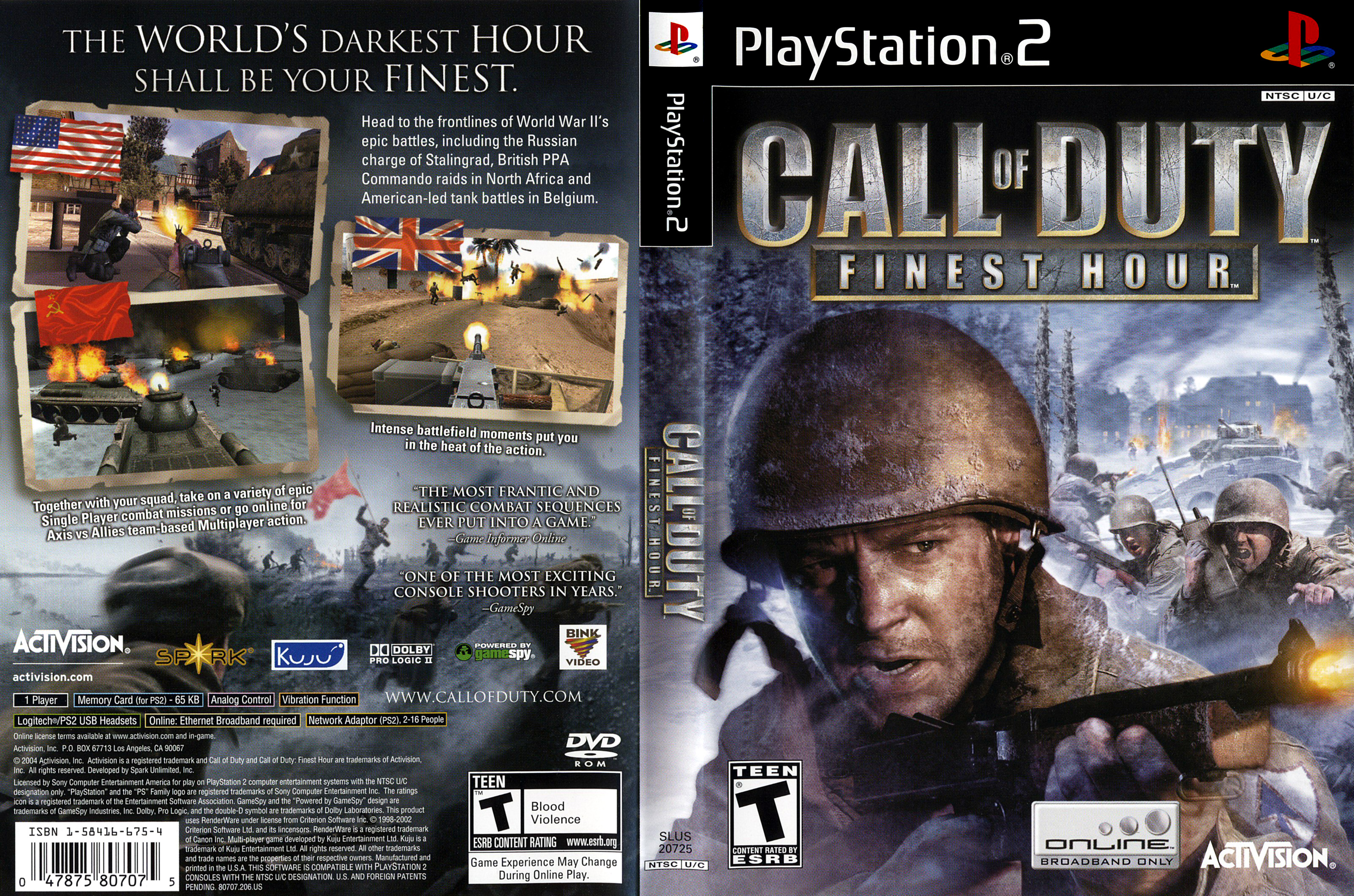 Call of Duty, Finest Hour - PS2   Your Cash Exchange