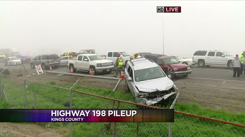 At least 40 cars involved in pileup near Hanford during
