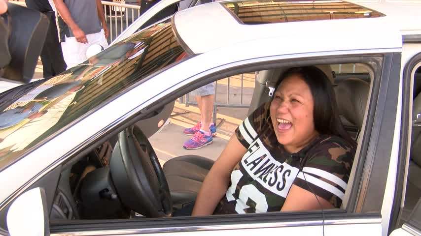 Surprise car giveaway to woman in need