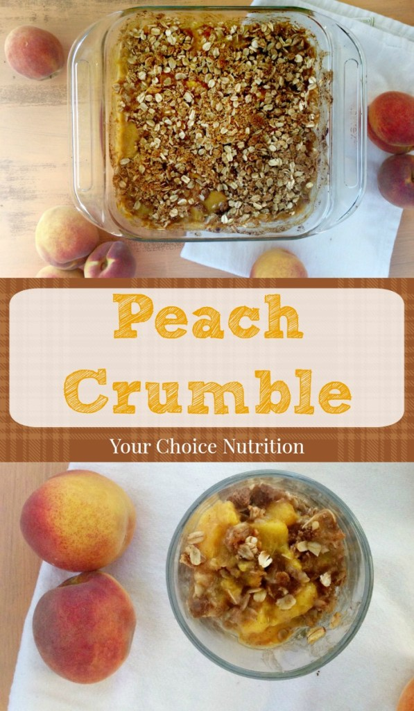 A lightened up version of traditional peach cobbler, this Peach Crumble is the perfect ending to any summer meal!