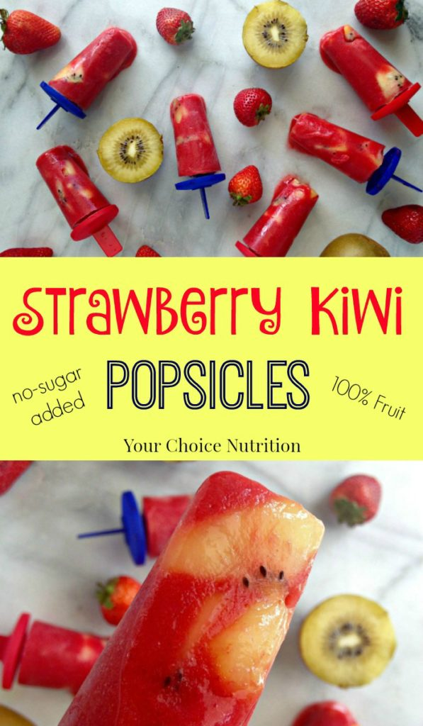 These 2 ingredient Strawberry Kiwi Popsicles are made of 100% fruit with no sugar added - a healthy treat that's perfect for a hot summer day!