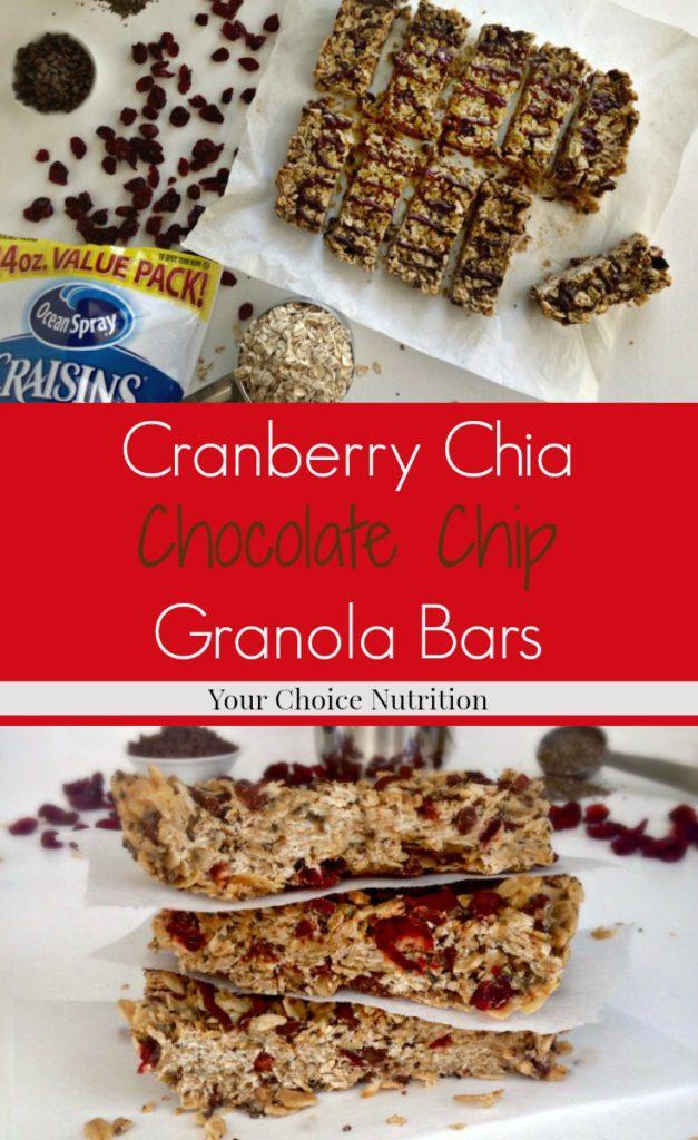Cranberry Chia Chocolate Chip Granola Bars #ad #betterwithcraisins