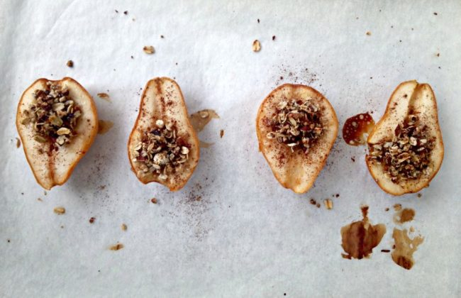 Sweet pears drizzled with maple syrup and filled with oats and pecans. These Maple Pecan Baked Pears are a healthier dessert option and will have your home smelling like fall!