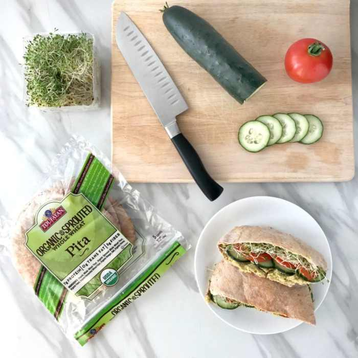 Veggie Pita Sandwiches with Avocado Hummus (vegan)   recipe via www.yourchoicenutrition.com