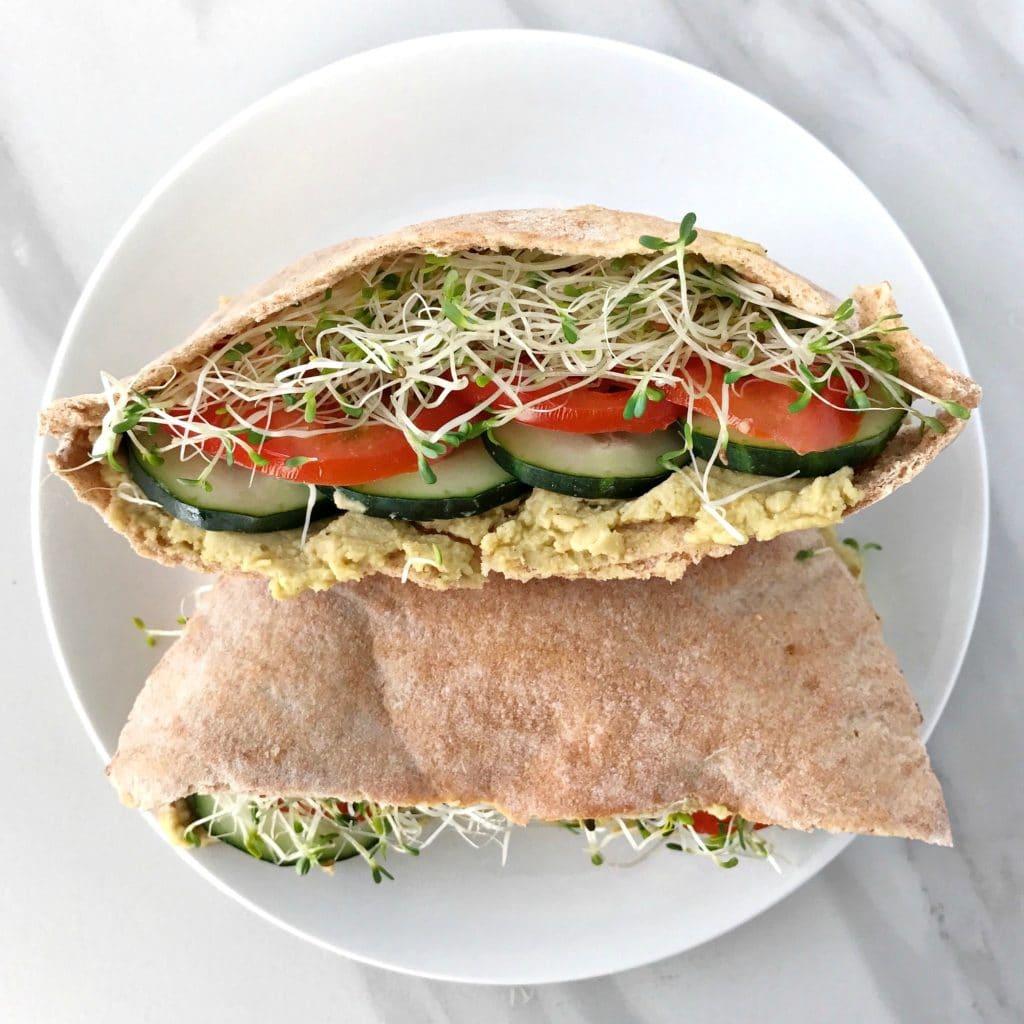 veggie pita sandwiches with avocado hummus - your choice nutrition