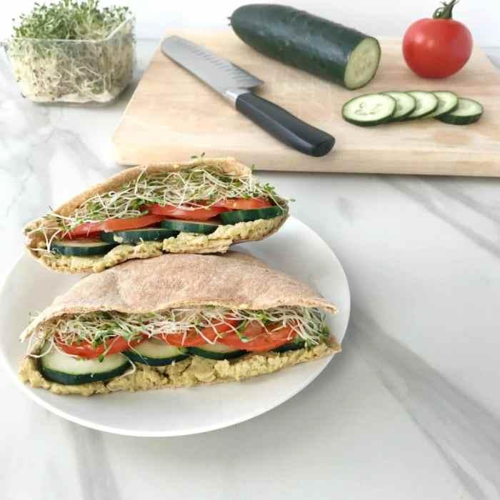 Veggie Pita Sandwiches with Avocado Hummus (vegan) | recipe via www.yourchoicenutrition.com