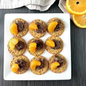 Orange Sausage on Sweet Potato Crackers