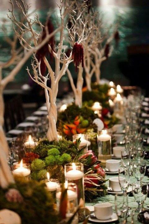 stylized woodland table decor