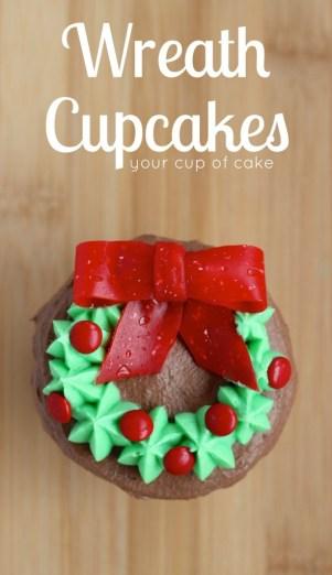Wreath Cupcakes for Christmas