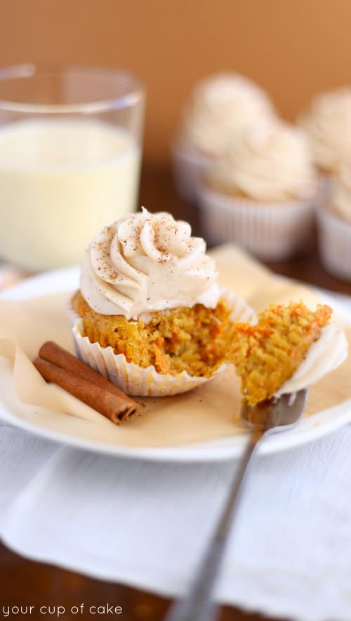 Eggnog Carrot Cupcake