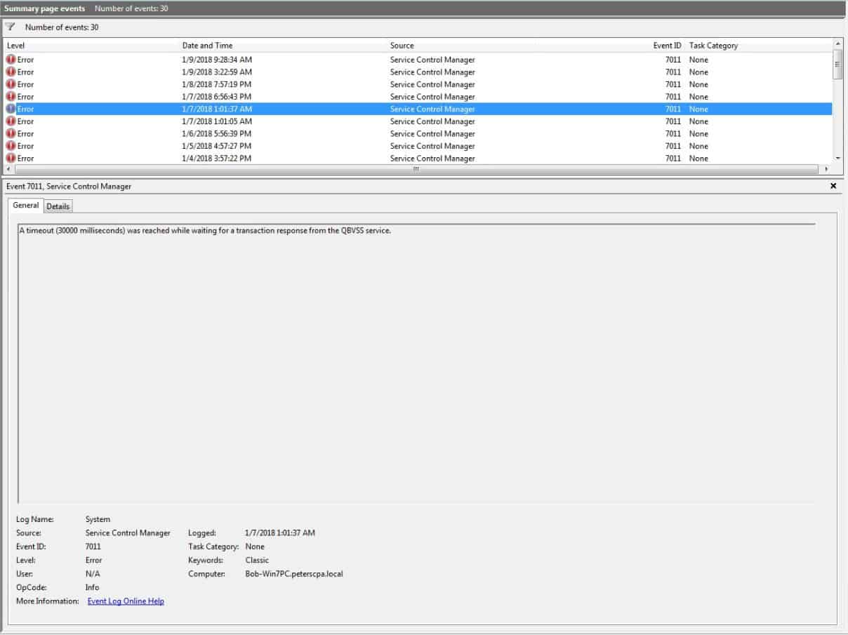Windows Error – Event ID 7011 – Service Timeout