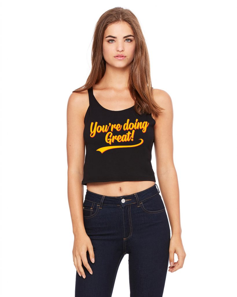 You're Doing Great Retro Script Women's Crop Top - Yellow & Red