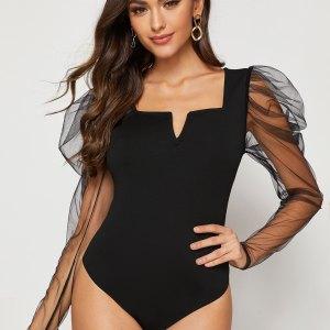 bodysuit femme manche transparente