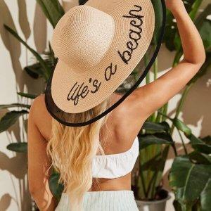 chapeau de plage paille life's a beach
