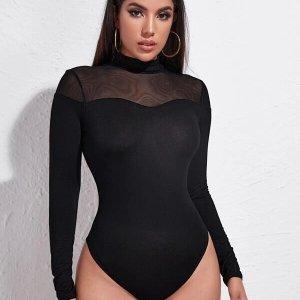 body femme sexy noir col montant