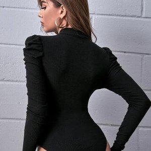 bodysuit manches stand collar