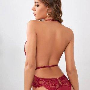 bodysuit lingerie rouge dentelle fleur
