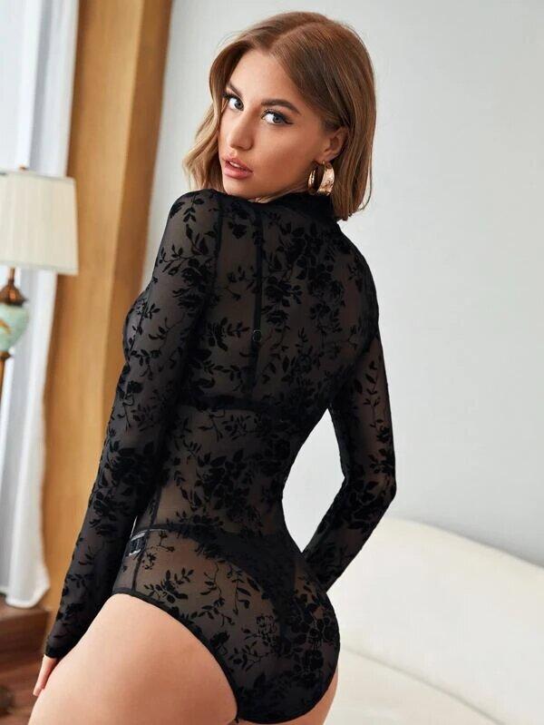 body manche longue transparent sexy
