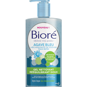 gel nettoyant peau grasse bioré bleu agave