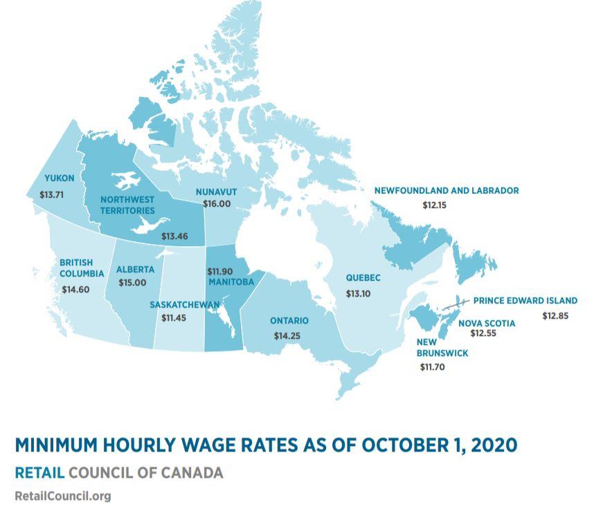 Minimum wage in Canada 2020-21