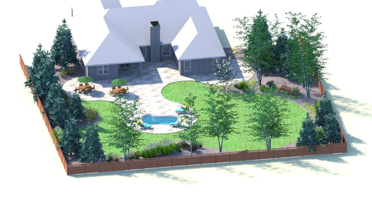 Patio Pool Plants Area