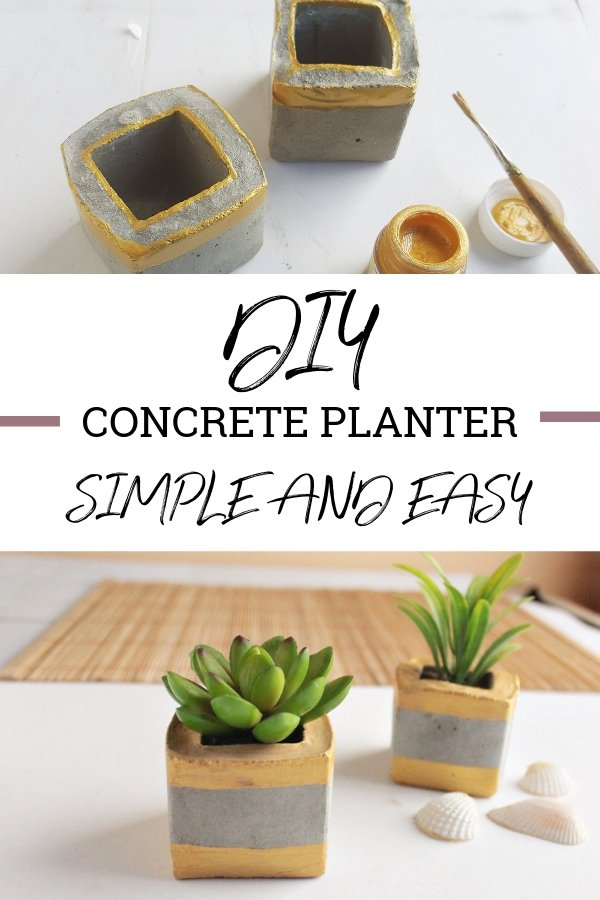 These DIY Concrete Planters are so simple and easy to do! Make a few and add them to your home decor or give them as gifts to your family and friends!  #DIY #concrete planters #homedecor #homemade