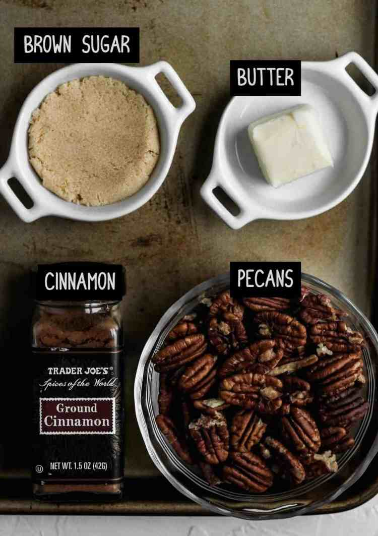 Labelled ingredients for the candied pecans (see recipe for details).