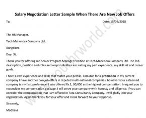 Salary Negotiation Letter After New Job