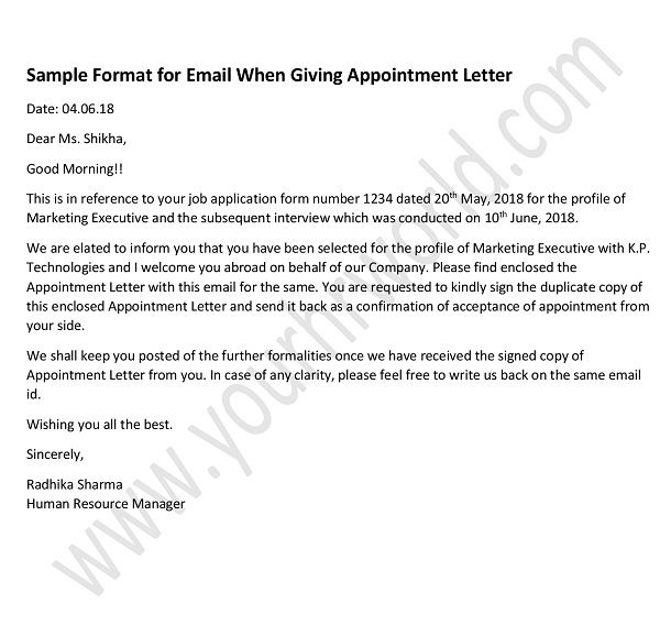 187 How To Write An Email While Giving Appointment Letter