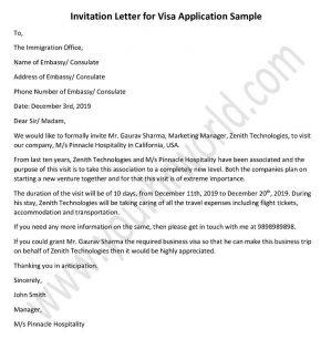 invitation letter for visa application