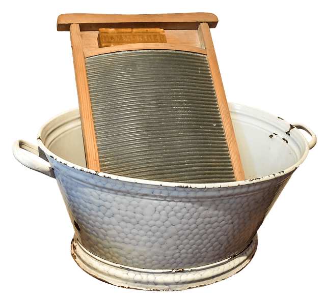 laundry basin and washboard