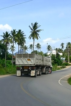 Gypsum truck on the main road