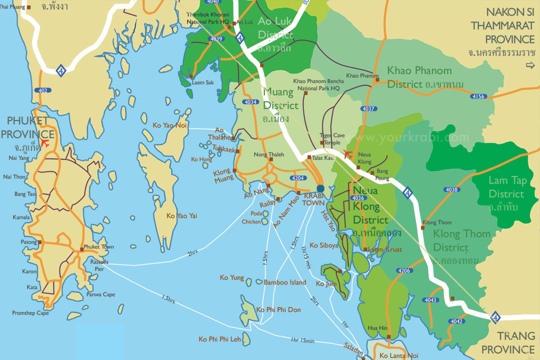 photo about Printable Map of Thailand named Custom made maps of Krabi Your Krabi