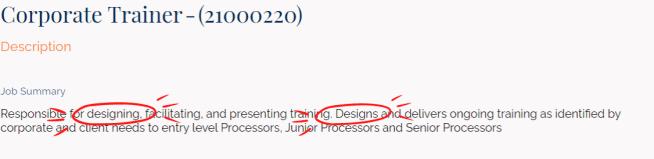 job description for corporate trainer