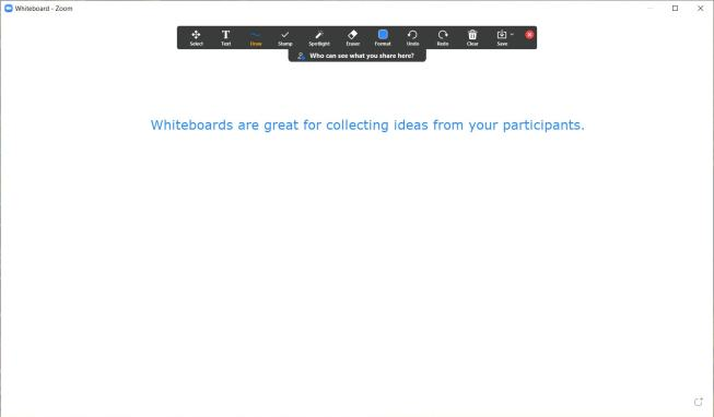 """picture of a whiteboard in Microsoft Teams. Text says """"Whiteboards are great for collecting ideas from your participants"""""""