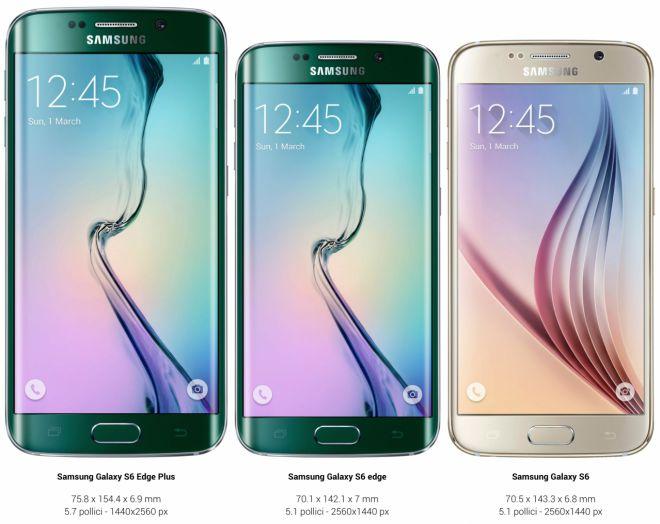 Confronto tra Samsung Galaxy S6 Edge+ e S6 Edge