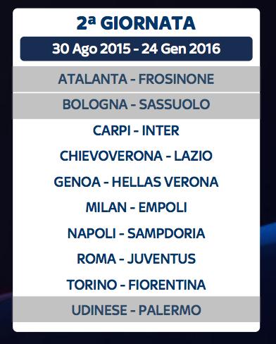 Seconda Giornata Serie A 2015 2016