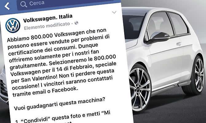 Volkswagen ragala macchine su Facebook