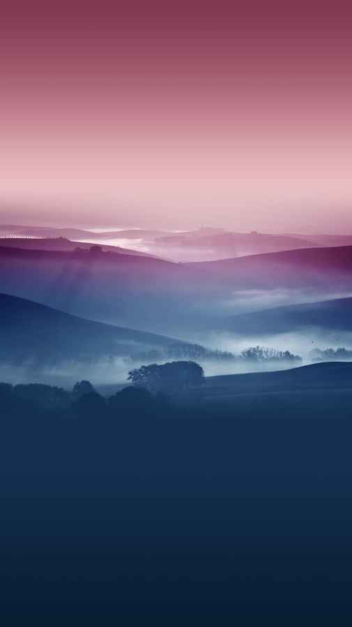 Misty Hills Landscape Android Wallpaper