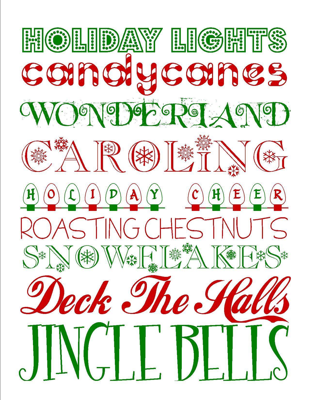 Free Printables Fun Christmas Subway Art Printable