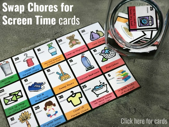 Cards to swap chores for screen time by yourmodernfamily