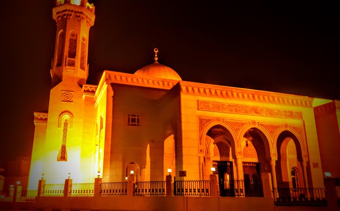 dubai mosque at night