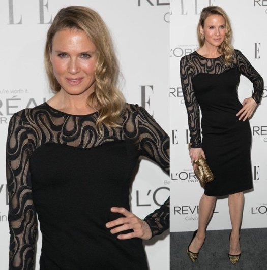 Renee Zellweger looking different in a black Carolina Herrera dress at Elle's 2014Women in Hollywood Celebration held at Four Seasons Hotel in Beverly Hills on October 20, 2014