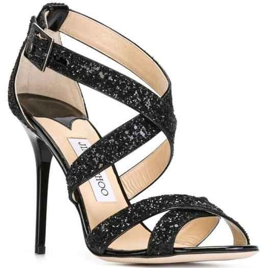 """Jimmy Choo """"Lottie"""" Sandals in Black Glitter"""