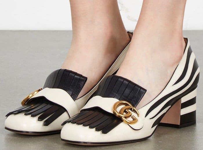 Guccis MindBoggling Lesley Zebra Leather Amp Fur Pumps