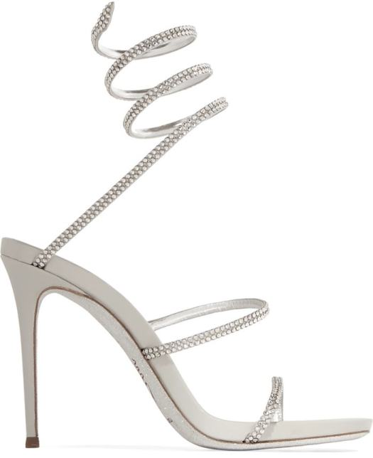 These silver leather 'Snake' sandals have shimmering crystal-embellished straps that coil around your ankle