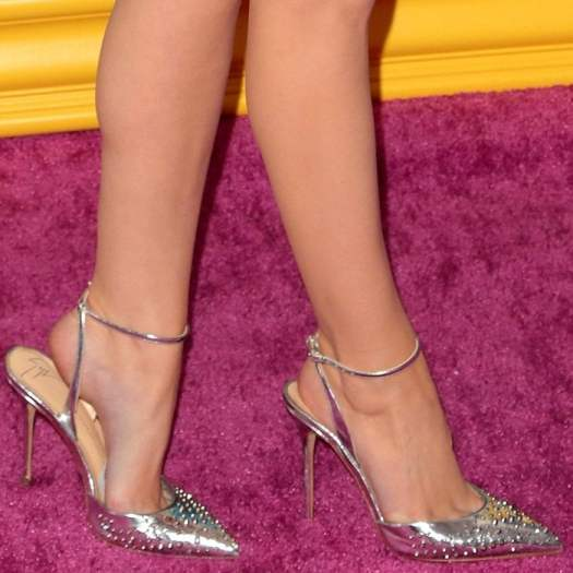 Anna Kendrick shows off her sexy feet in silver metallic studded 'Kaley' pumps from Giuseppe Zanotti