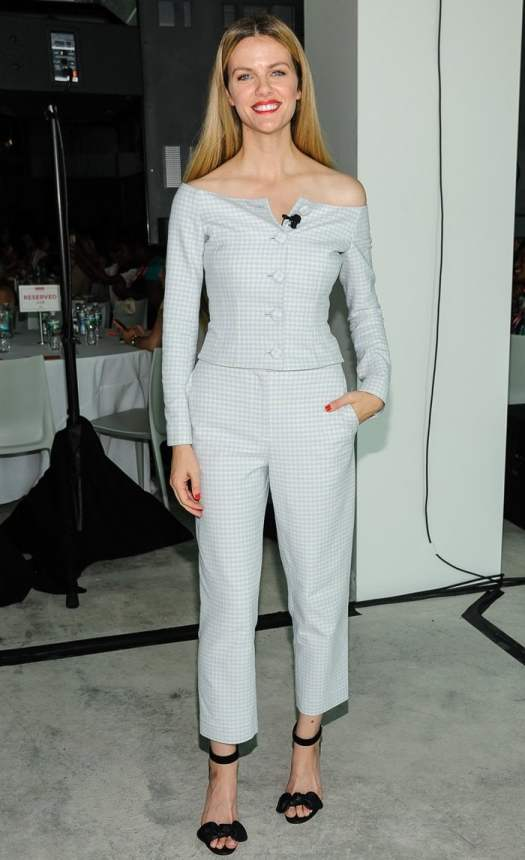 "Brooklyn Decker in a ""Jackie"" jacket in stretch gingham suiting fabric and matching ""Pamela"" pants"