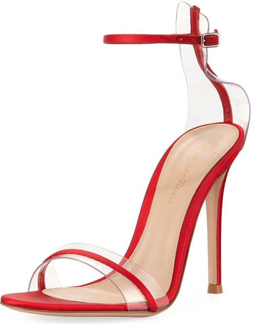 Gianvito Rossi Plexi Satin Ankle-Strap 105mm Sandals