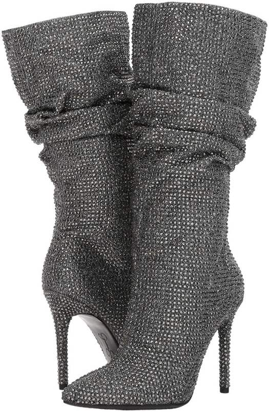 Sparkling crystals shimmer all over a slouchy boot lofted by a slim stiletto heel